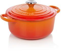 Le Creuset Gietijzeren ronde braadpan in Oranje-rood 20cm 2,4l