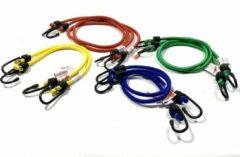 Rode JUMBO Snelbinder/ fietsbinder 8 stuks 2x45, 2x60, 2x80, 2x100cm - 20 KG met extra stevig softe haken.