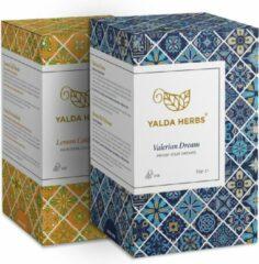 Combipack van Valerian Dream en Lemon Cold Buster- 2 Doosjes van Yalda Herbs Kruidenthee-36 Piramide Theezakjes