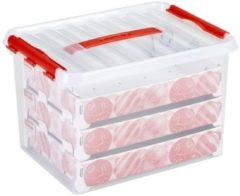 Rode Sunware Q-Line Kerstballen Opbergbox - 22L - Voor 60 Kerstballen - Transparant