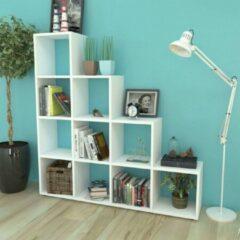 SJ interiors Boekenkast EIken Wit 142cm (Incl Magazine Houder) - Boeken kast - Boekenrek - badkamer kast - Woonkamer Kast