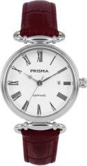 Prisma P.1930 Dameshorloge staal/leder zilverkleurig-rood