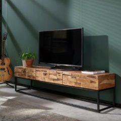 Naturelkleurige Fraaai® tv-meubel Pepijn - industrieel - hout - acaciahout - metaal - met 3 lades - 180 cm