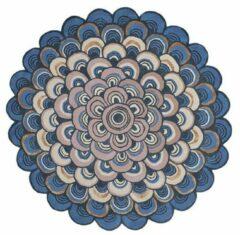 Ted Baker - Masquerade Round Blue 160008 Vloerkleed - 150 cm rond - Rond - Laagpolig Tapijt - Klassiek - Beige, Blauw, Bruin