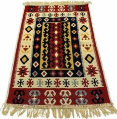 Sunar Home Kelim Vloerkleed Fethiye - Kelim kleed - Kelim tapijt - Oosterse Vloerkleed - 60x90 cm - Loper - Bankkleed - Plaid - Met kleine cadeau