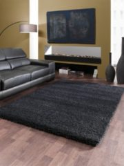Zwarte Basic Collection Hoogpolig Vloerkleed Shaggy Deluxe - Black-Melange - 120x170 cm