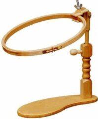 Studio Koekoek Flexibele standaard voor borduurring. Berkenhouten borduurring houder tafelstandaard of zitstandaard. Voor borduurring tot 30cm doorsnede en frames van 30.5 x 22.9 cm. Houten borduurring klem voor op tafel op stoel.