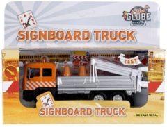Blauwe Kids Globe Verkeersborden truck oranje met verlichting incl. 4 pionnen - Speelgoedvoertuig: 14 cm