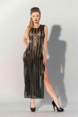 Zwarte Guilty Pleasure - Printed Datex gestreepte lange jurk - M