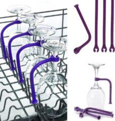 Paarse Glim® - 6 stuks - Wijnglazenhouder - Siliconen hulpstuk - Wijnglazen in de vaatwasser