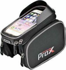 Zwarte ProX Frametas fiets - Telefoonhouder Fiets - Mountainbike - stadsfiets - smartphone 6,2 Inch - 1Liter