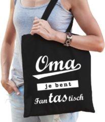 Bellatio Decorations Cadeau tas zwart katoen met de tekst Oma je bent fanTAStisch - kadotasje voor oma's