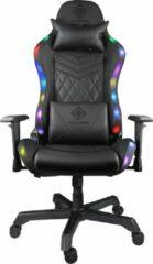 DELTACO GAMING GAM-080 - RGB-gamingstoel in kunstleer, rugleuning kantelbaar, 332 RGB-kleurenstanden, nekkussen, rugkussen, zwart / RGB