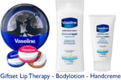 Blauwe Vaseline Giftset Lip Therapy - Advanced Repair Bodylotion & Handcreme
