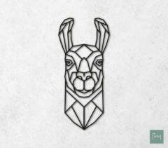 Laserfabrique Wanddecoratie - Geometrische Lama - Zwart - 60cm - Houten Dieren - Muurdecoratie - Line art - Wall art