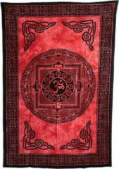 Spiru Authentiek Wandkleed Katoen Chakra Cirkel OHM Rood (215 x 135 cm)