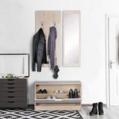 Wohnling Wand-Garderobe JANA mit Spiegel & Schuhschrank Spanplatte sonoma Moderne Flur-Kompaktgarderobe für Jacken & Schuhe Komplettgarderobe