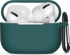 JVS Products Apple Airpods Pro ultra dunne siliconen cover - Hoesje - extra dunne Apple Airpods siliconen cover met sleutelhanger - Donkergroen