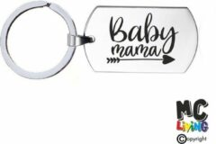 Zilveren MC Living Sleutelhanger RVS - Baby Mama