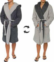 Donkergrijze Sorprese - Luxe badjas - licht grijs effen - donker grijs effen - dubbelzijdig - capuchon - maat L/XL - Extra zachte badstof - MICRO FLEECE - badjas - bad jas - ochtendjas - Design H