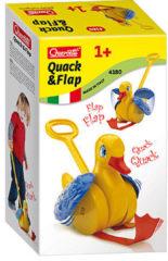 Gele Quercetti quack en flap stokroller eend