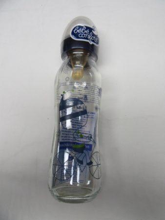 Afbeelding van Bebe confort fles , papfles , zuigfles glas blauw , 240 ml