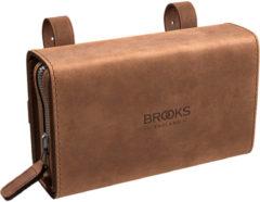 Bruine Brooks England D-vormig zadeltasje met oude look - Zadeltassen