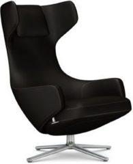 Vitra Grand Repos Sessel - Sitzhöhe 41 cm - Untergestell Aluminium poliert - Cosy Kreuzstichnaht samtbraun