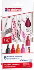 Edding textielstift 4500, set van 5 stuks in geassorteerde warme kleuren
