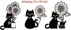 Zwarte Debrocanterievriescheloo Raam stickers vrolijke poezen met bloemen