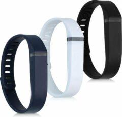 Kwmobile horlogeband voor Fitbit Flex - 3x siliconen bandje in wit / donkerblauw / zwart - Voor fitnesstracker