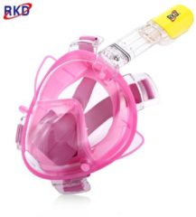 """GearBest """"RKD Diving Detachable Dry Snorkeling Full Face Mask Set - M Rose Red"""""""