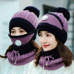 Knaak 3-1 Muts - Sjaal - Mondkap - Wol - Warm - One Size - Zwart/Paars
