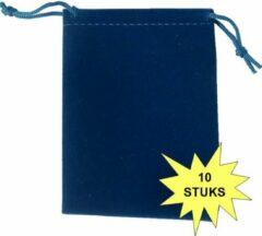 Fako Bijoux® - Cadeau Zakjes - Velours - 7x9cm - Donkerblauw - 10 Stuks