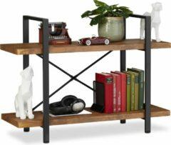 Relaxdays boekenkast industrieel - vintage stellingkast - 2 etages - boekenrek - opbergrek