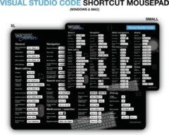 Zwarte Worksmarter Microsoft Visual Studio Code Shortcut Mousepad - XL - Mac