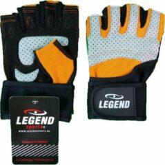 Zwarte Legend Sports Fitness Handschoen Legend Grip Oranje/grijs Maat S