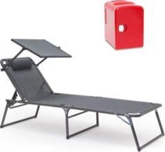 Relaxdays 2er Sommer Relax Set M Gartenliege Sonnenliege Mini Kühlschrank 4L Minibar 12V