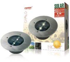 Grijze Smartwares Ranex 5000.197 Grondspot - 2 lichts - 140 mm - staal