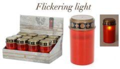 Massamarkt Grafkaars herdenkingslicht LED Ø7x12cm kunststof rood exclusief batterijen (2x