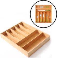 Naturelkleurige Decopatent® Bestekbak voor keukenla met 7 Vakken - Bestek organizer - Bestekla - Hoogwaardig Bamboe Hout - Bestekcassette 45x35x6