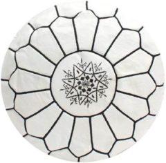 Poufs&Pillows Leren Poef - Wit en Zwart - Handgemaakt en stijlvol - Gevuld geleverd
