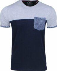 Marineblauwe New Republic Earthbound - Heren T-Shirt - Borstzak - Grijs - Navy
