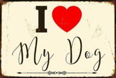 Witte Th Commerce® METALEN WANDBORD - HOND - LOVE MY DOG-RECLAMEBORD - MUURPLAAT - VINTAGE - RETRO - WANDDECORATIE -TEKSTBORD - DECORATIEBORD - RECLAME - NOSTALGIE - 30 x 20 cm - nr 5620