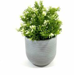 Grijze Lucy's Living Lucy's Living Luxe Bloempot STRIPE grey – ø 14 x 14 cm - binnen – buiten – luxe – accessoires – tuin – decoratie – bloemen - aardewerk - planten - plantenhouder