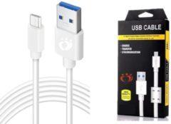 Witte Olesit K102 Micro USB Kabel 3 Meter Fast Charge 2.1A High Speed Laadsnoer Oplaadkabel - Magnetische Ring Data Sync & Transfer geschikt voor de Honor Modellen - Wit
