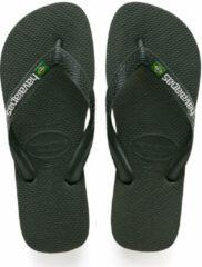 Havaianas Brasil Logo Unisex Slippers - groen Olive - Maat 45/46