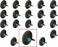 AMIG – Stalen Stoffeernagels Siernagels Meubelnagels Sierspijkers – ø25 x 24mm - Rond – Ruw Oppervlak – Zwart – Rustiek Ornament - 20 stuks