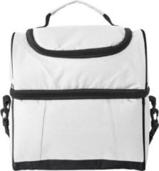 Merkloos / Sans marque Handige koeltas wit/zwart 39 cm - 12 liter - Koeltassen voor onderweg/op het strand