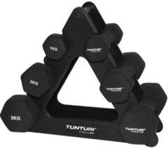 Zwarte Tunturi Dumbbell set - met dumbbell opbergrek - 3 paar 1 t/m 3kg